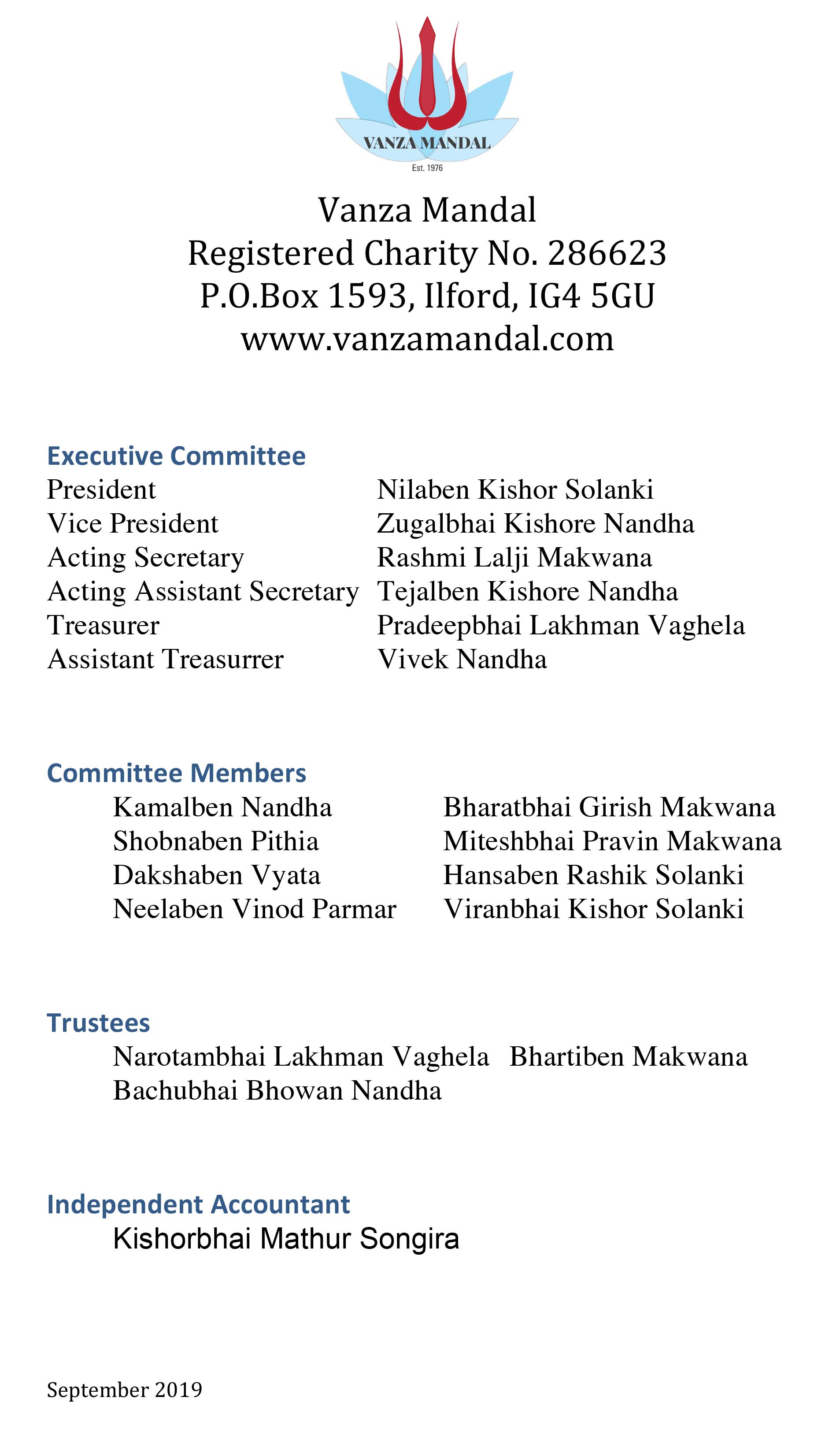 Microsoft Word - Vanza Mandal Committee members september 2019.d